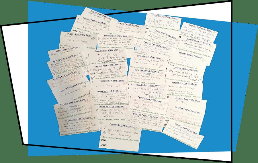 audience feedback cards